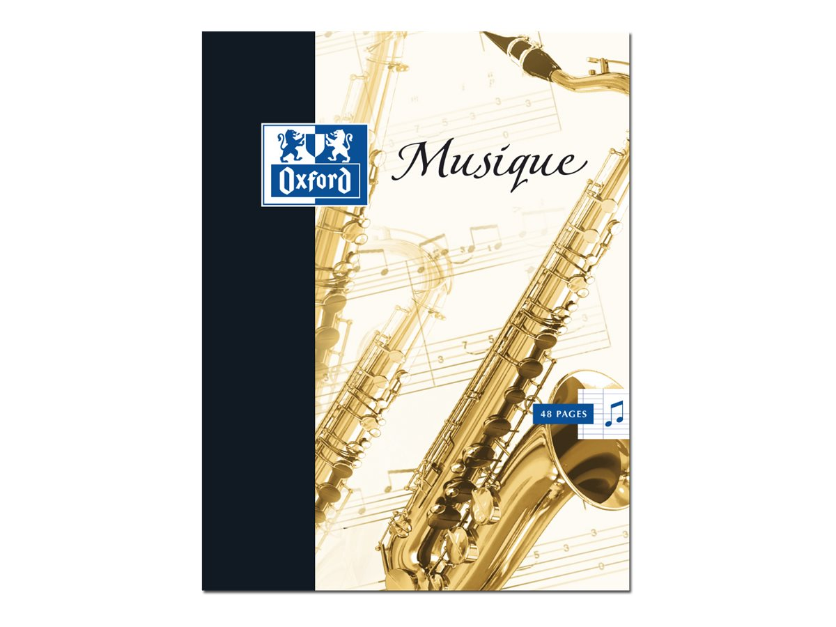 Oxford School Musique et Chant - A4 - Bloc notes musical - 21 x 29,7 - 48 pages - Grands carreaux
