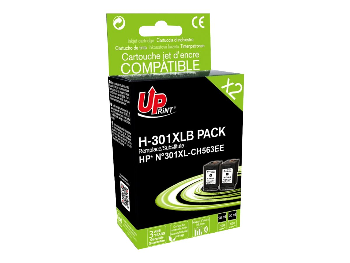 UPrint H-301XLB PACK - pack de 2 - noir - remanufacturé - cartouche d'encre (alternative for: HP CH563EE, HP 301XL BK)