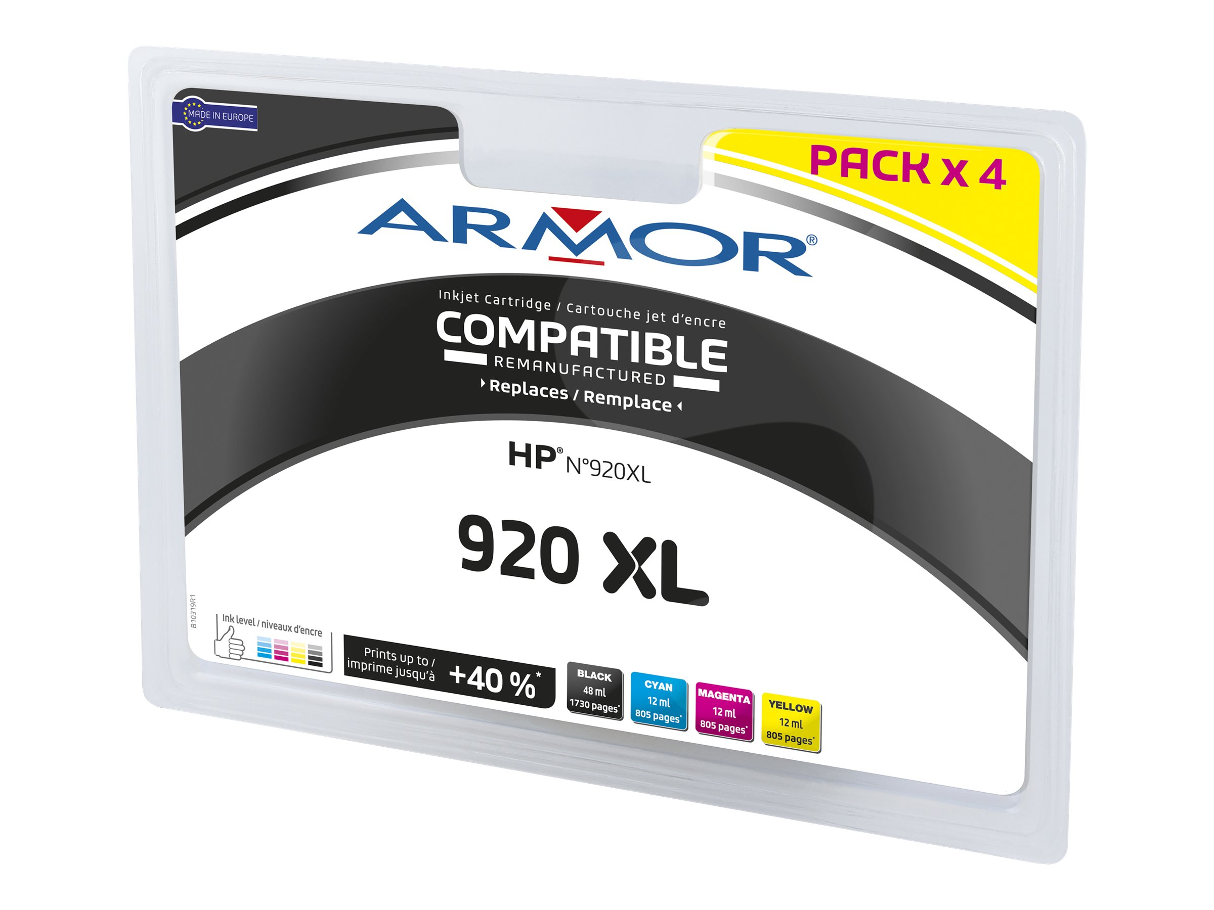 Armor B10319R1 - pack de 4 - noir, jaune, cyan, magenta - cartouche d'encre (alternative for: HP 920XL)