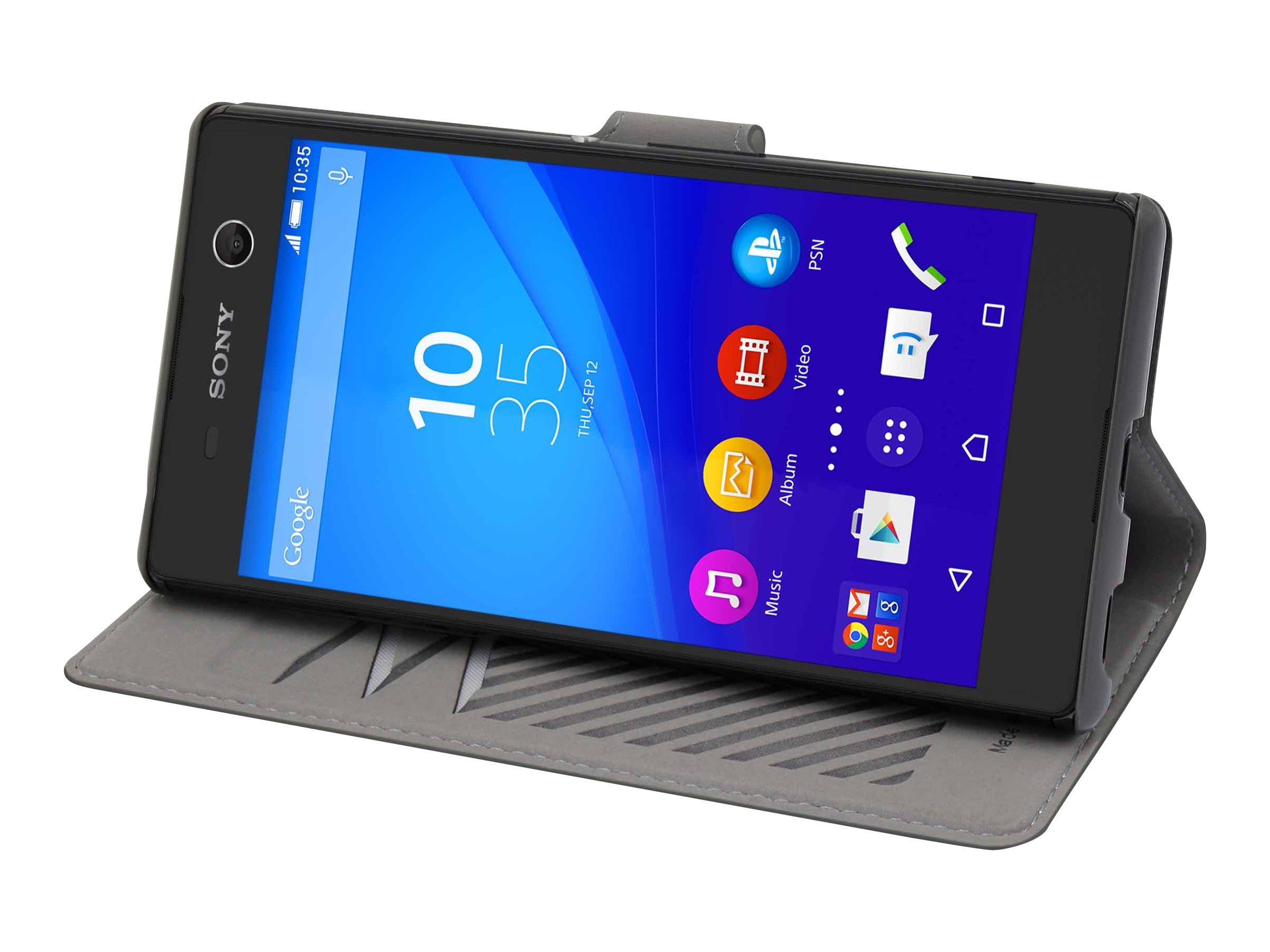 Muvit MFX slim s folio - Protection à rabat pour Sony XPERIA M5 - gris