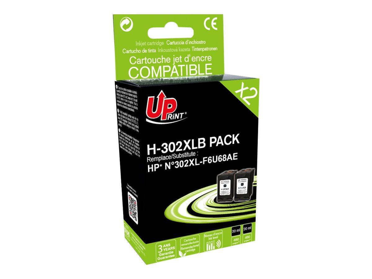 UPrint H-302XL - pack de 2 - taille XL - noir - remanufacturé - cartouche d'encre (équivalent à : HP 302XL)