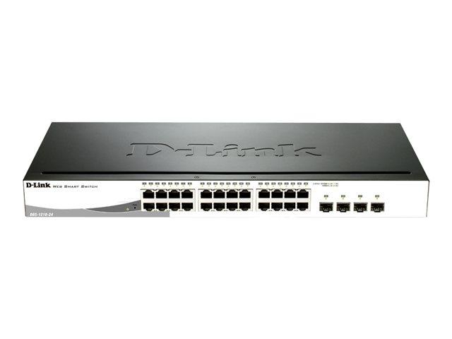 D-Link Web Smart DGS-1210-24P - Commutateur - Géré - 12 x 10/100/1000 + 12 x 10/100/1000 (PoE+) + 4 x Gigabit SFP - Ordinateur de bureau, Montable sur rack - PoE+ (85 W)