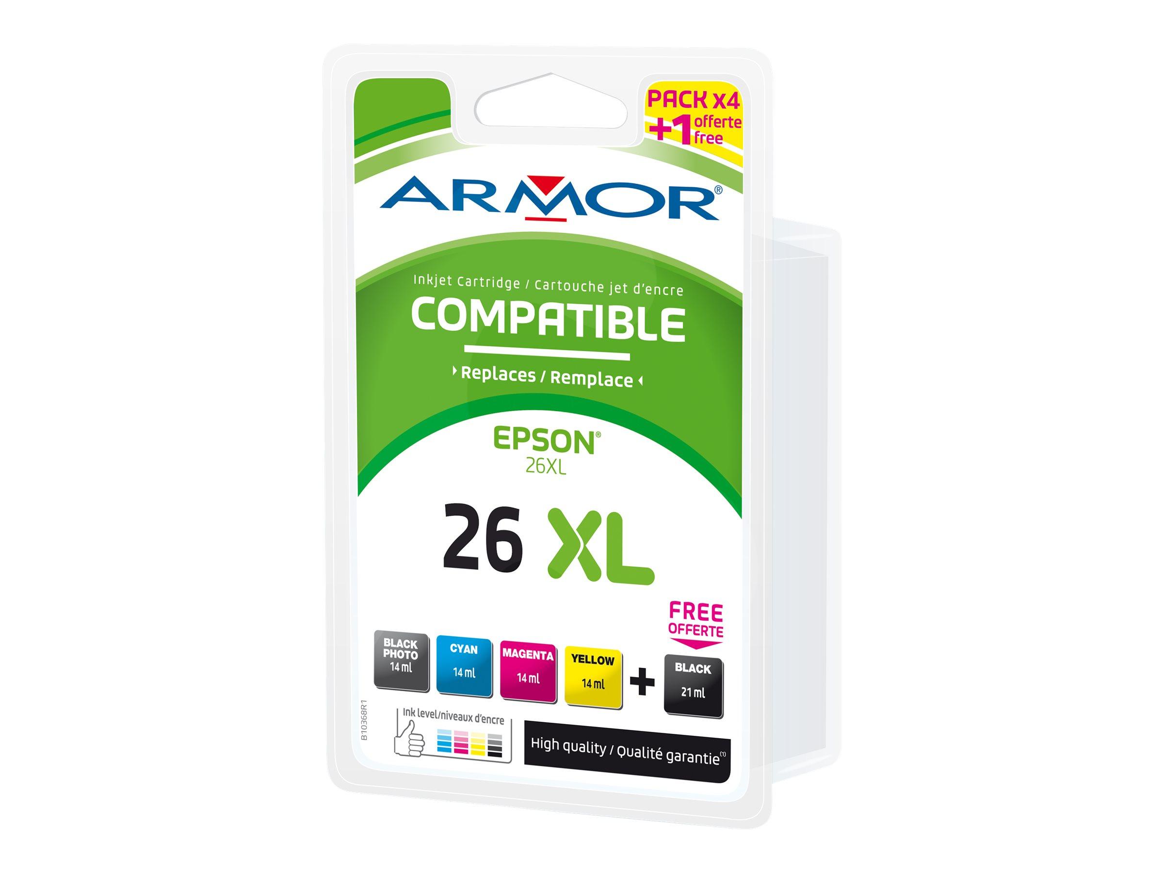 Armor M72 - ours - pack de 5 - noir, jaune, cyan, magenta - cartouche d'encre (équivalent à : Epson T26XL)