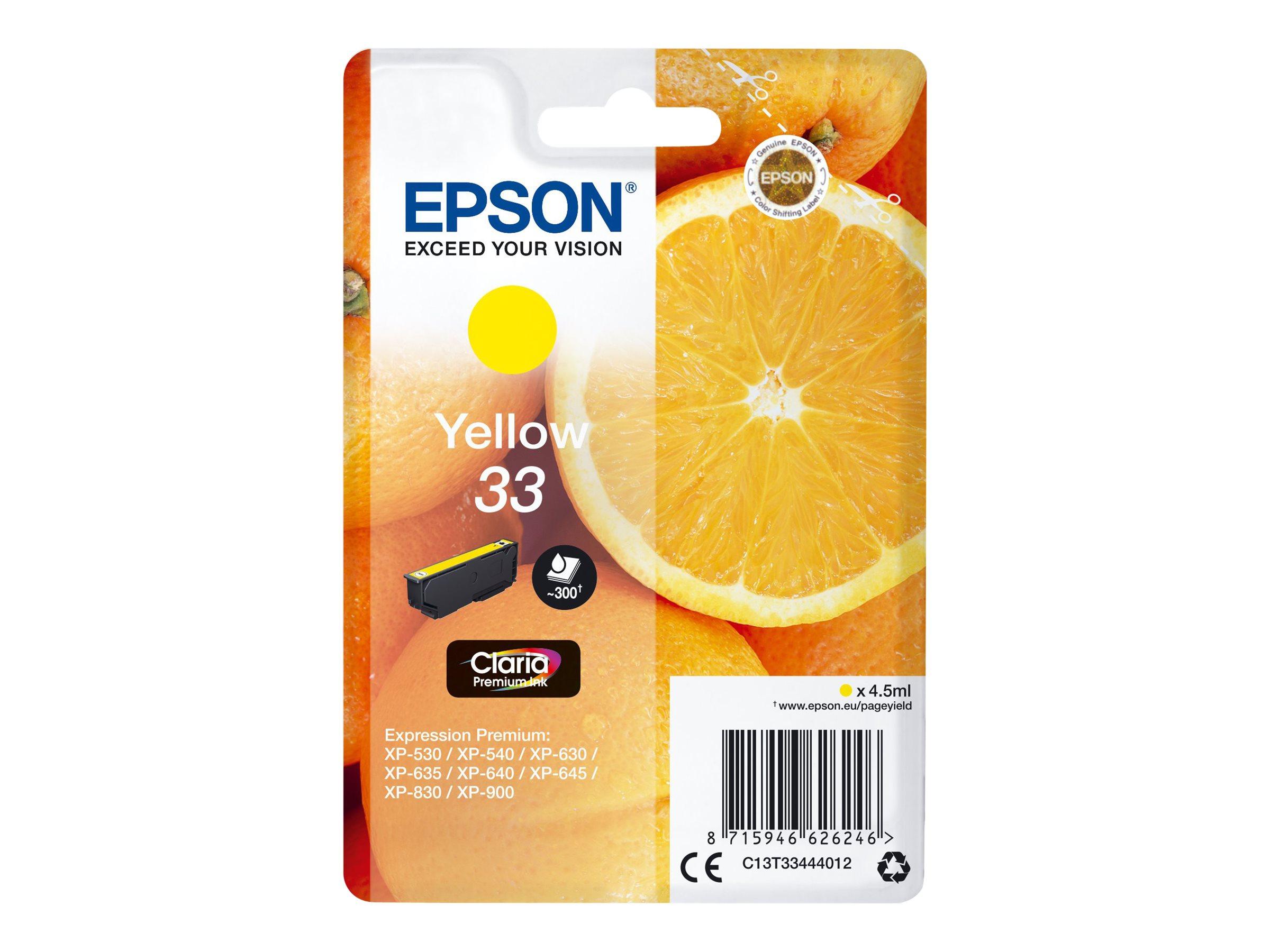 Epson T33 - oranges - jaune - originale - cartouche d'encre