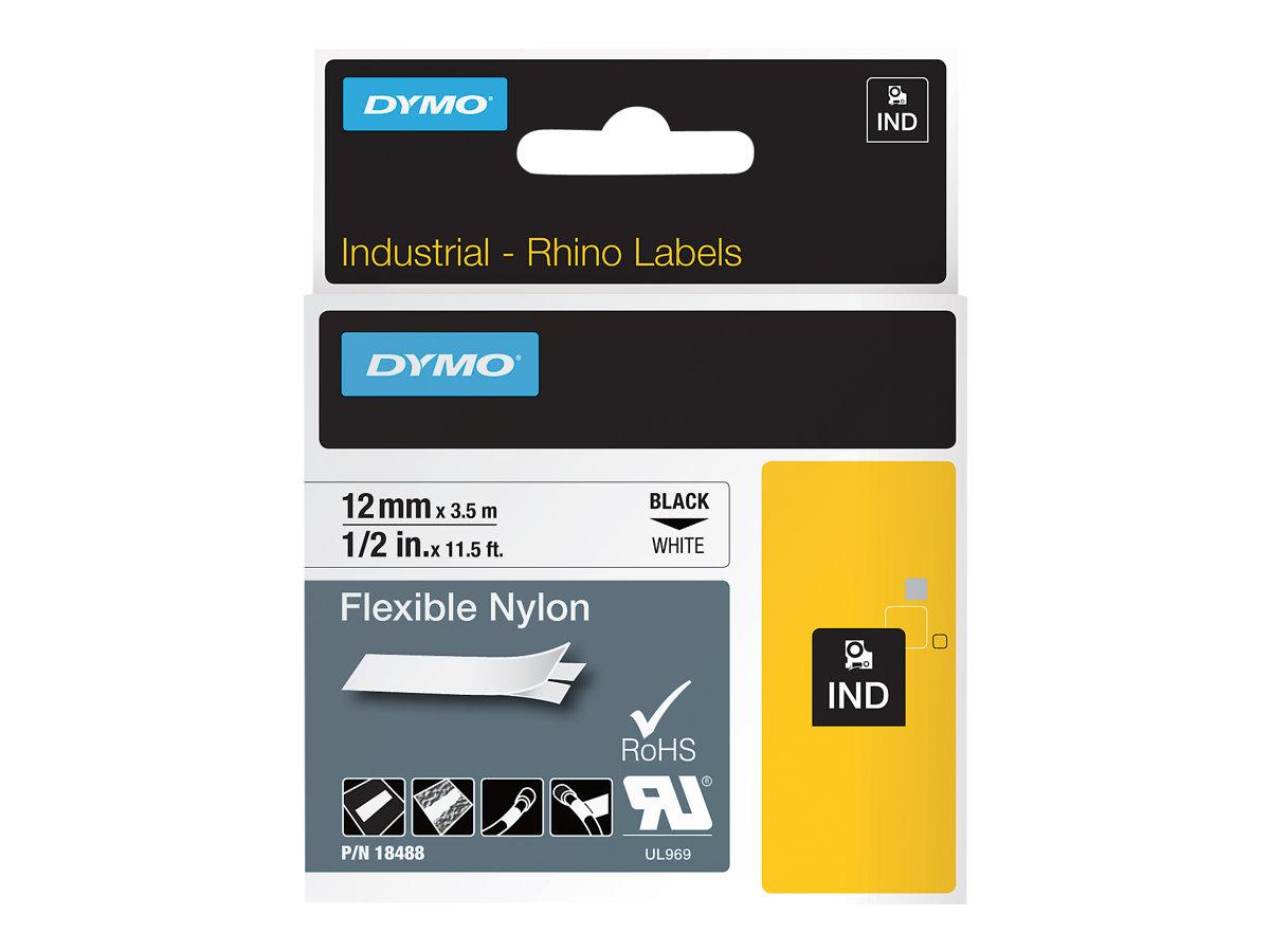 DYMO - Ruban d'étiqueteuse rhino- noir sur blanc - en nylon flexible - 12 mm x 3,5 m