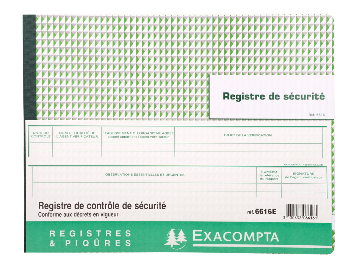 Exacompta regsitre de contr le de s curit technique registres - Bureau de controle technique ...