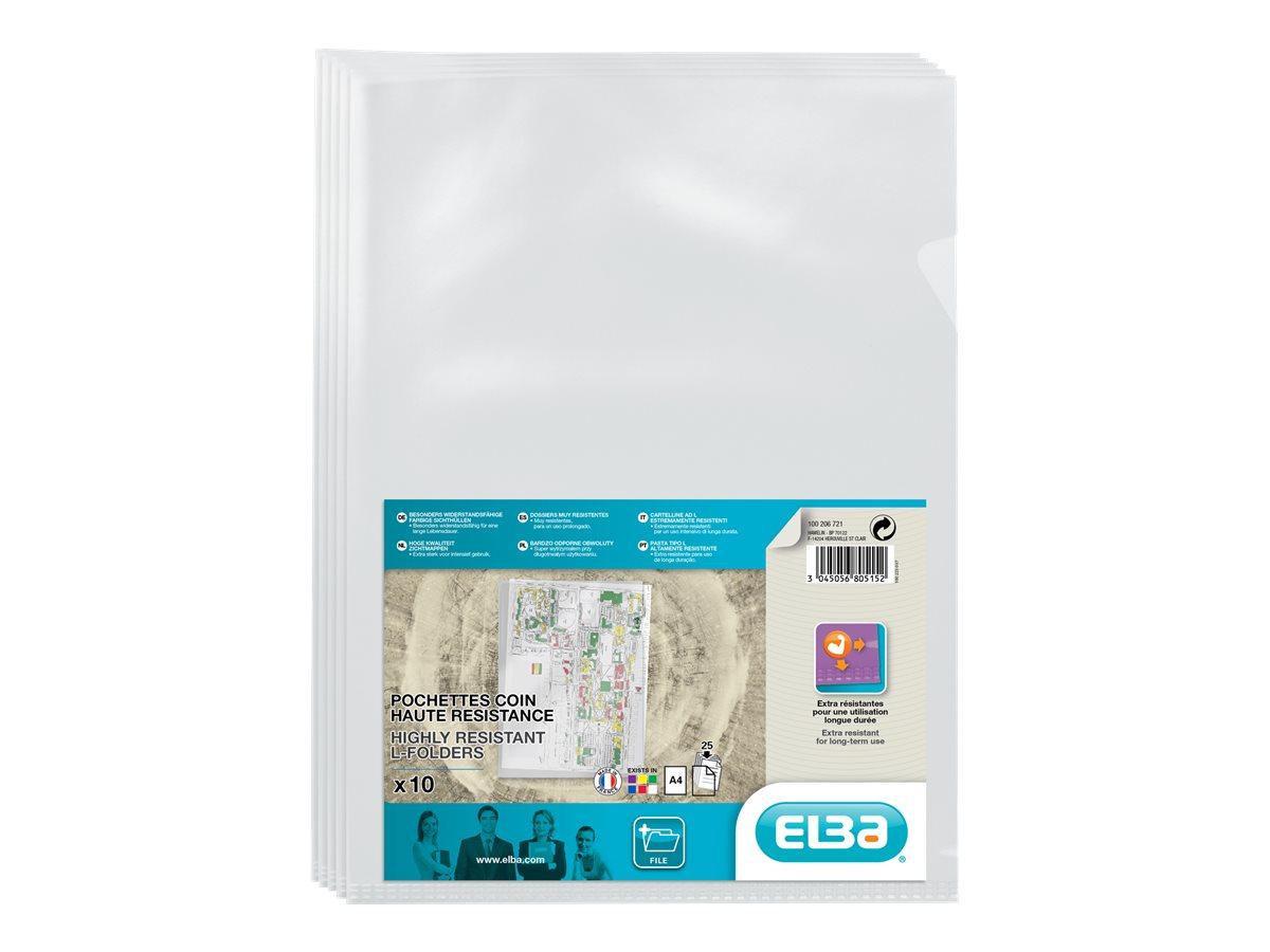 ELBA - 10 pochettes coins - A4 - pour 25 feuilles - cristal