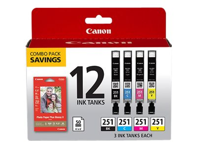 Canon CLI-251 CMYK (3ea) 12-ink tanks Combo Value Pack