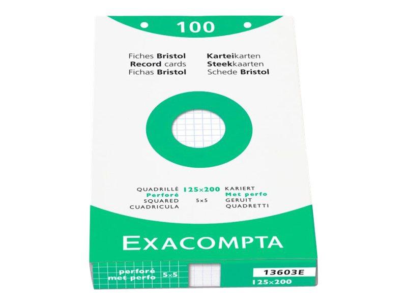 Exacompta - Fiches Bristol - 125 x 200 mm - Blanc - Quadrillé