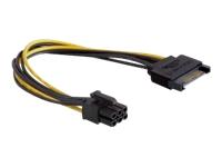 DeLOCK Strømkabel SATA strøm (han) til 6 pin PCIe-strøm (han) 21 cm