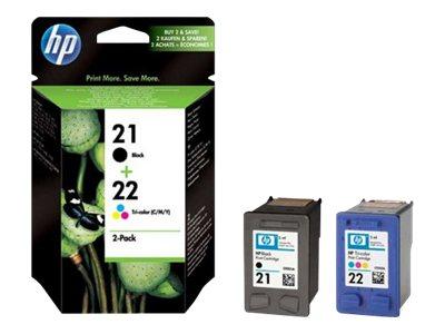 HP 21/22 Combo Pack - pack de 2 - noir, couleur (cyan, magenta, jaune) - originale - cartouche d'encre