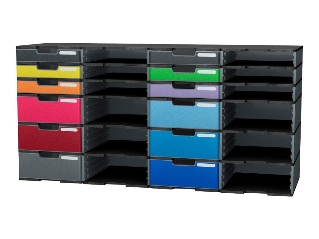 Exacompta Ecoblack - Bloc de classement à tiroirs- A4 Plus - noir, gris souris