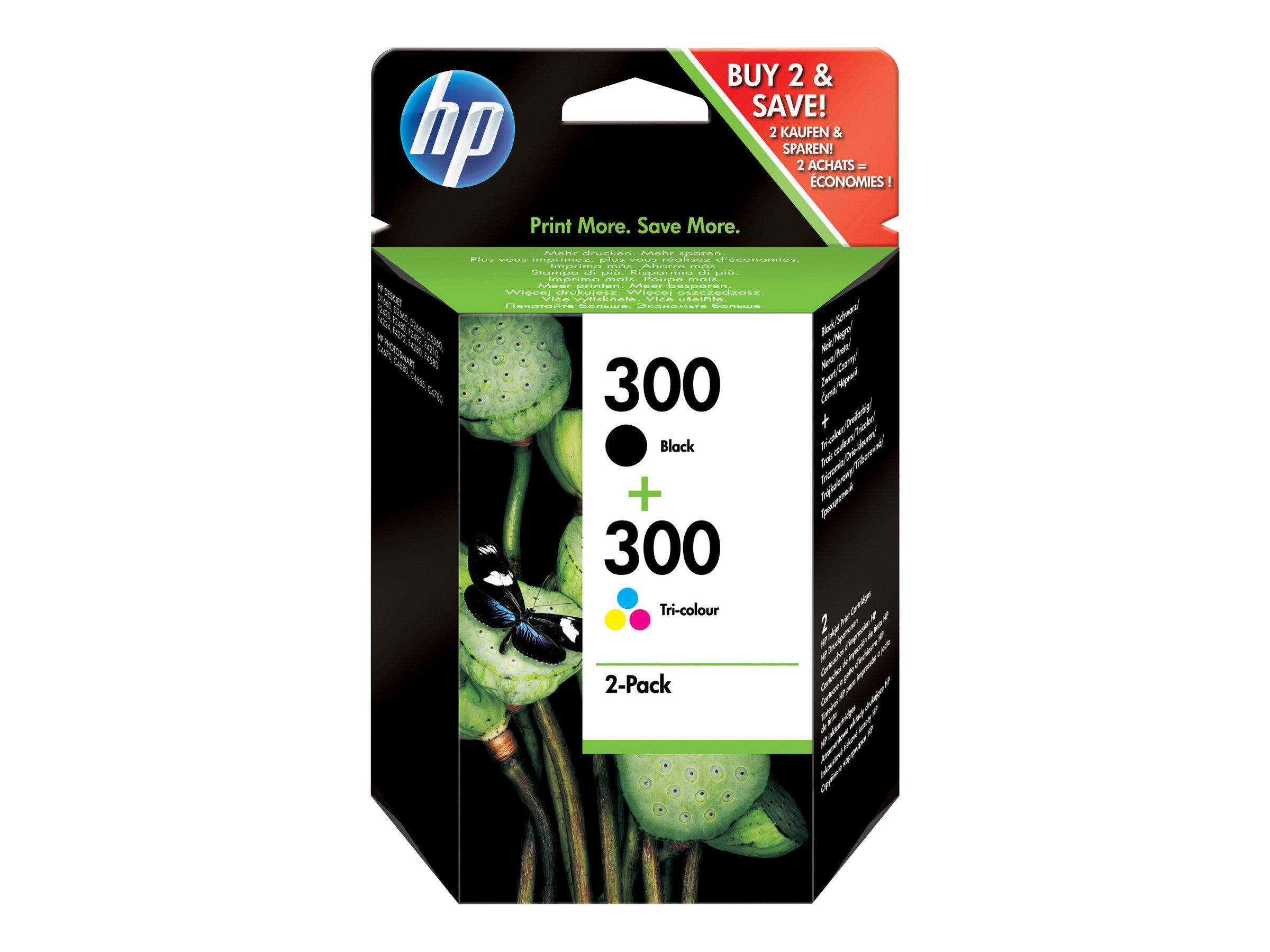 HP 300 - pack de 2 - noir, tricolore à base de colorant - originale - cartouche d'encre