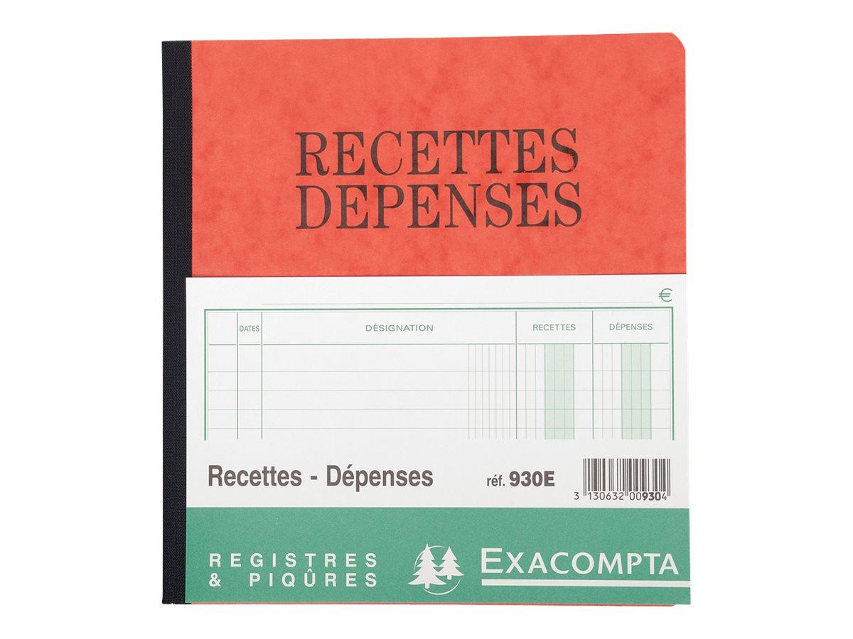 Exacompta - Recettes/dépenses - 80 pages - 210 x 190 mm
