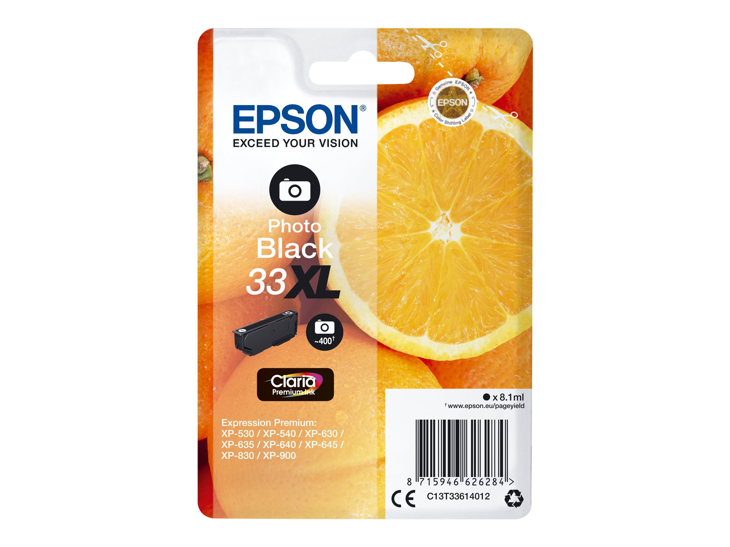 Epson T33XL - oranges - taille XL - photo noire - originale - cartouche d'encre