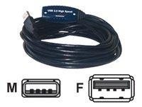 MCL Samar - Rallonge de câble USB - USB (M) pour USB (F) - 5 m - Câble actif (régénération du signal) - Sachet