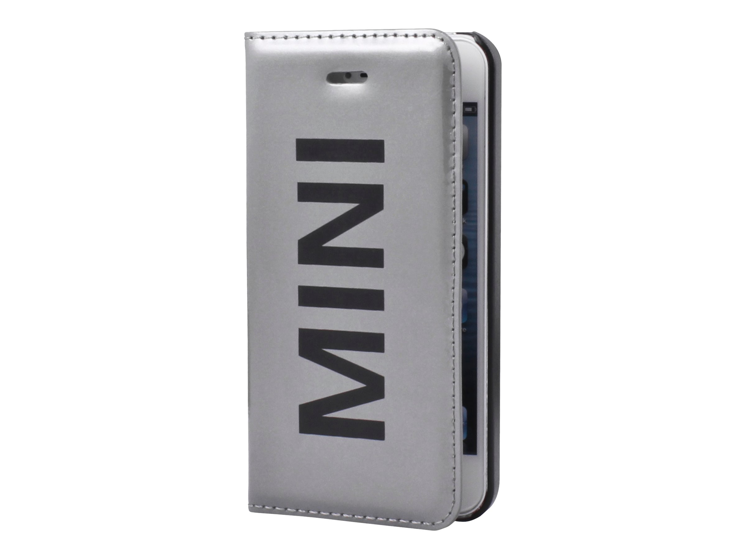 MINI Folio case - Protection à rabat  pour Apple iPhone 5, 5s - vinyle argent