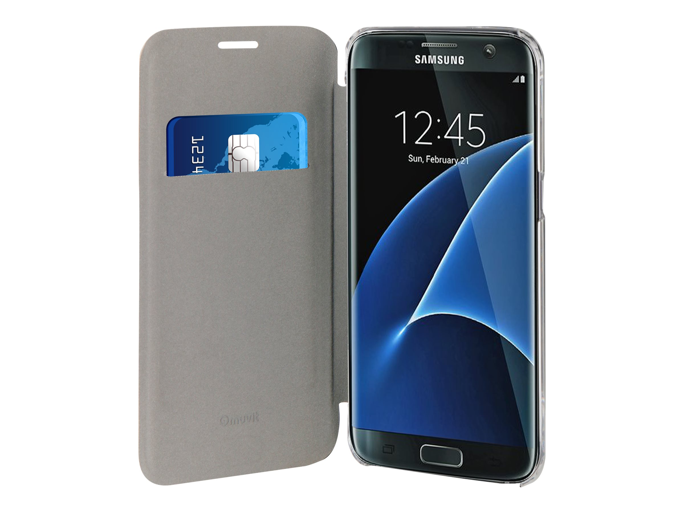 Muvit Folio - Protection à rabat pour Samsung Galaxy S7 edge - or