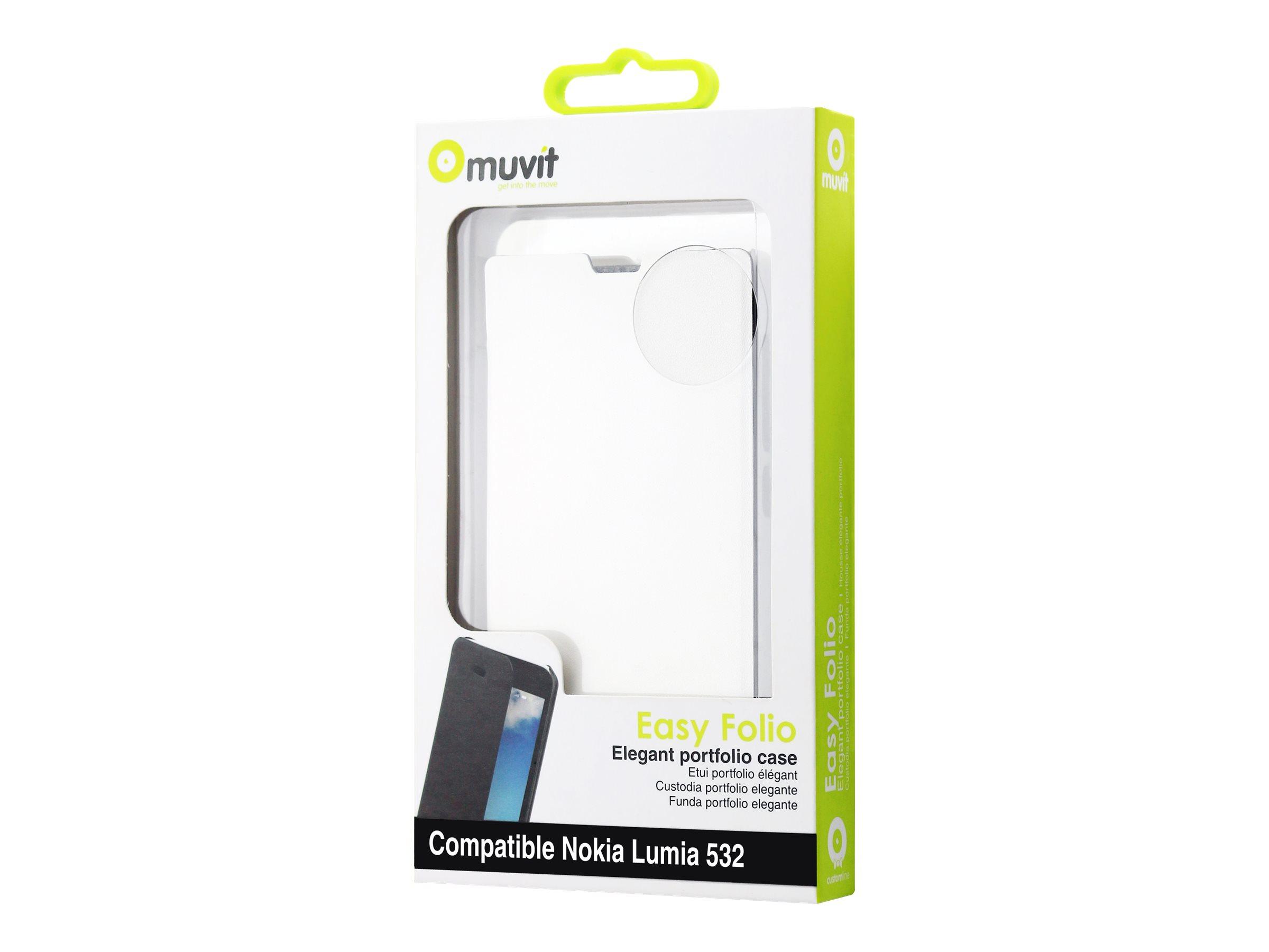 Muvit Easy Folio - Protection à rabat pour Microsoft Lumia 532 - blanc