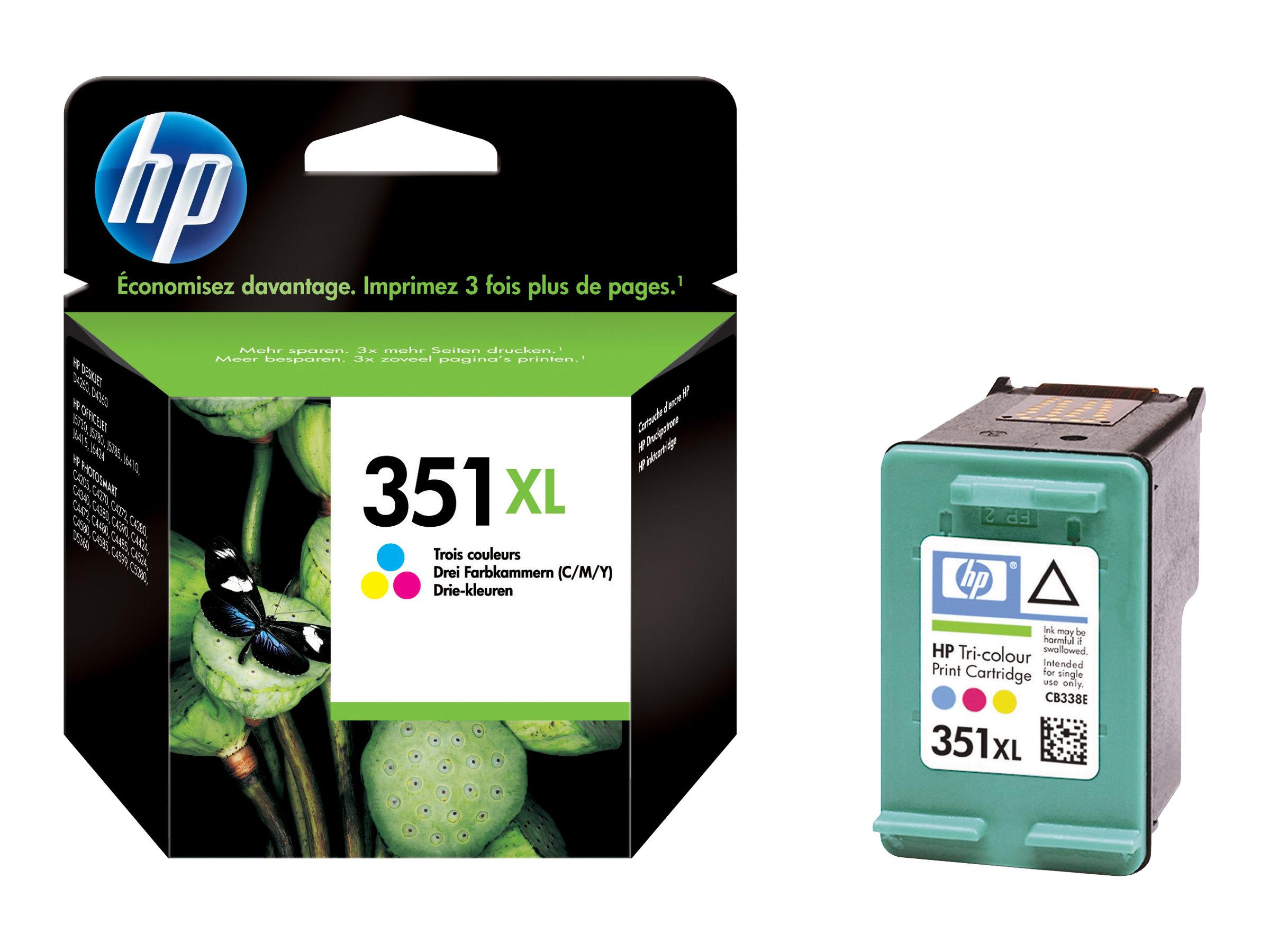 HP 351XL - à rendement élevé - couleur (cyan, magenta, jaune) - originale - cartouche d'encre