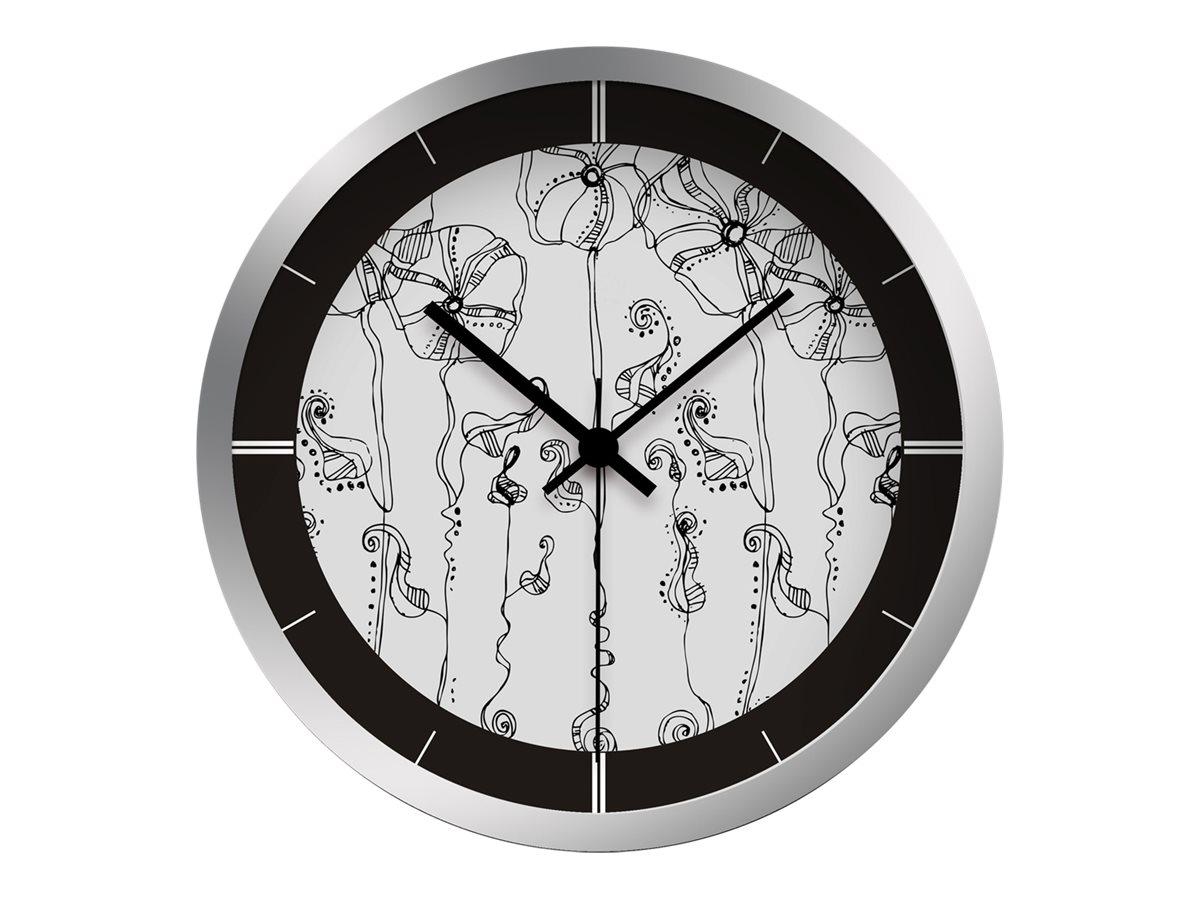 OfficePro Fleurs noires - horloge