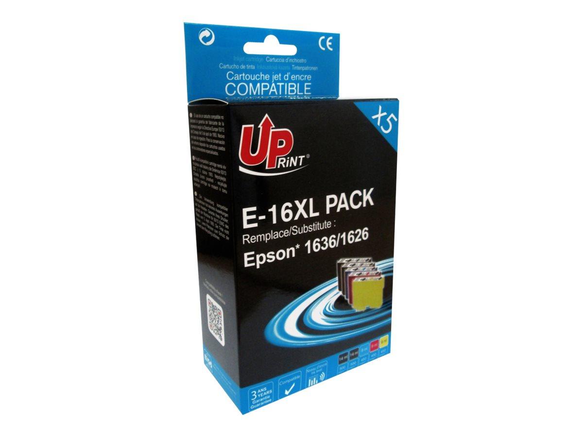 UPrint - stylo plume - pack de 5 - noir, jaune, cyan, magenta - cartouche d'encre (équivalent à : Epson T16XL)