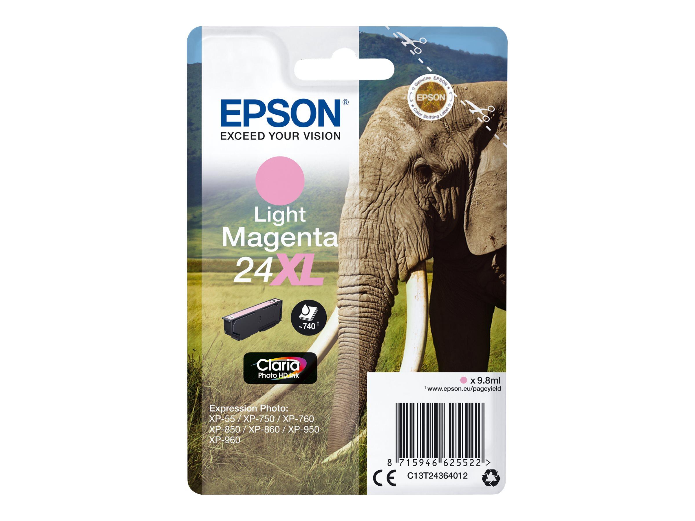 Epson T24XL - éléphant - taille XL - magenta clair - originale - cartouche d'encre