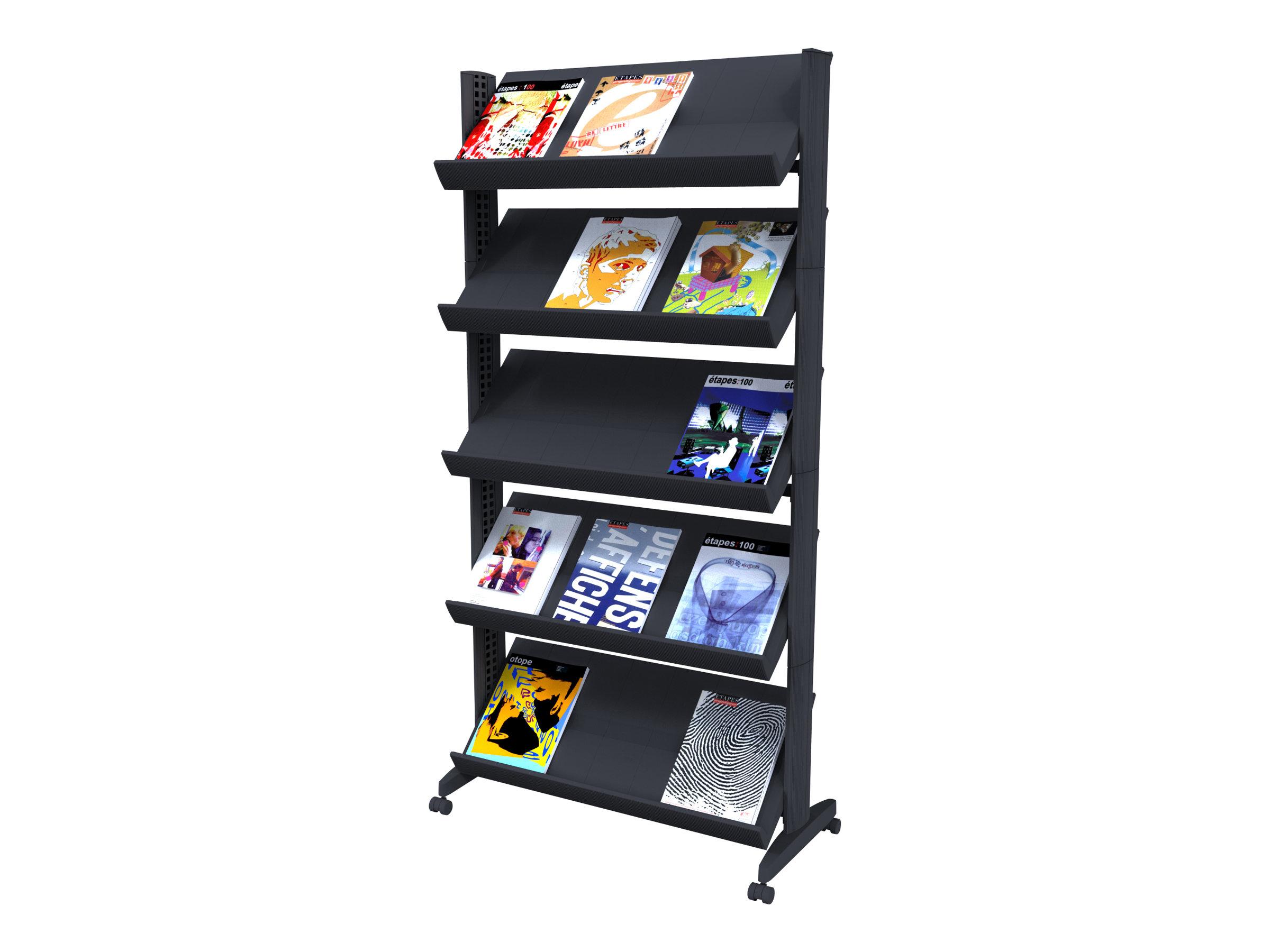 Paperflow easyDisplays - Présentoir mobile simple face - 5 pochettes - pour 24 x 32 cm - noir
