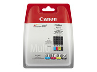 Canon CLI-551 C/M/Y/BK Multipack 4 pakker sort, gul, cyan, magenta