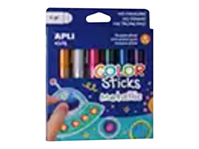 APLI kids COLOR Sticks - 6 tubes de gouache - tempéra - couleurs métalliques assorties