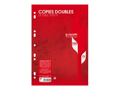 Calligraphe - A4 - Copies doubles - 21 x 29,7 - 200 pages - Grands carreaux
