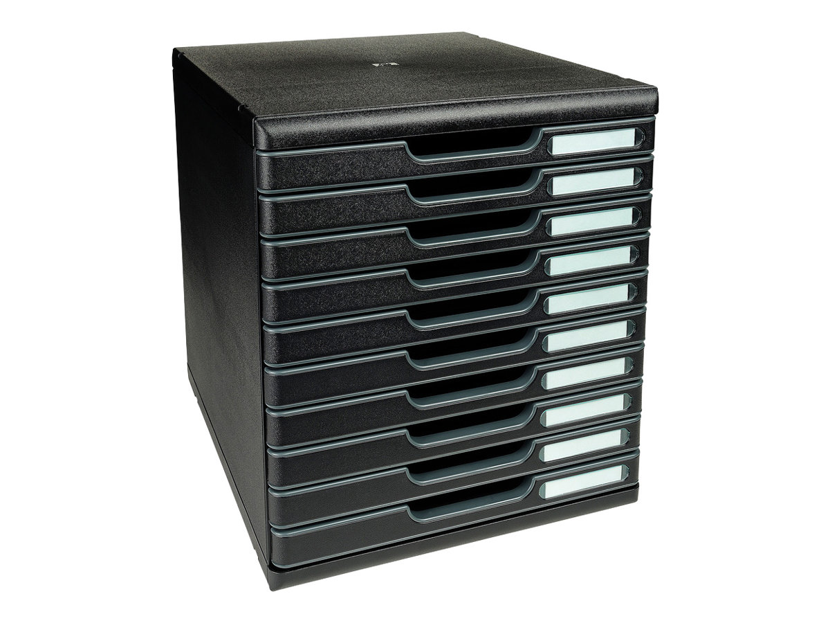 Exacompta Ecoblack - Bloc de classement à tiroirs - 10 tiroirs - A4 Plus