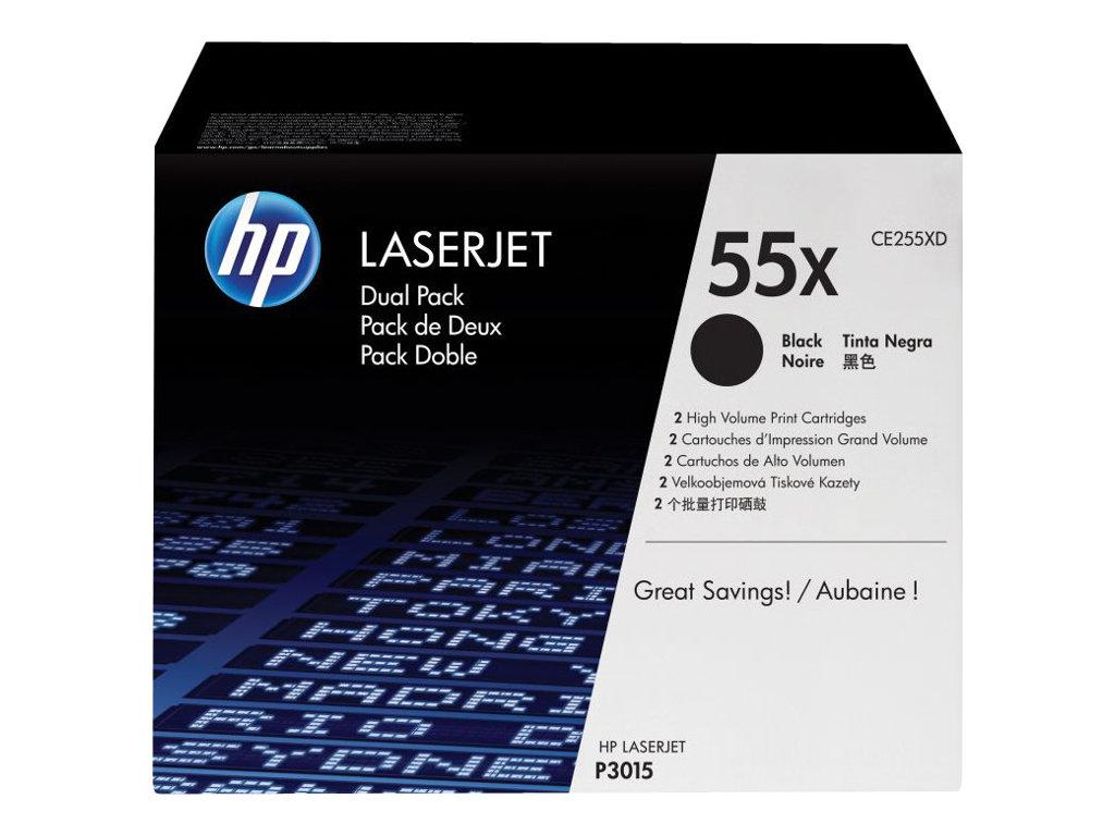 HP 55X - pack de 2 - à rendement élevé - noir - originale - LaserJet - cartouche de toner (CE255XD)