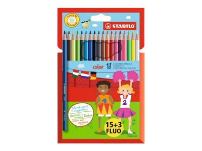 Stabilo color - 18 Crayons de couleur - couleurs vives assorties - 2.5 mm