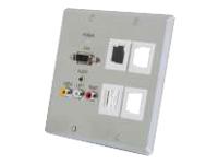 C2G TruLink Dual Gang VGA+3.5mm+Composite+4 Keystone over Cat5 Wall Plate Transmitter