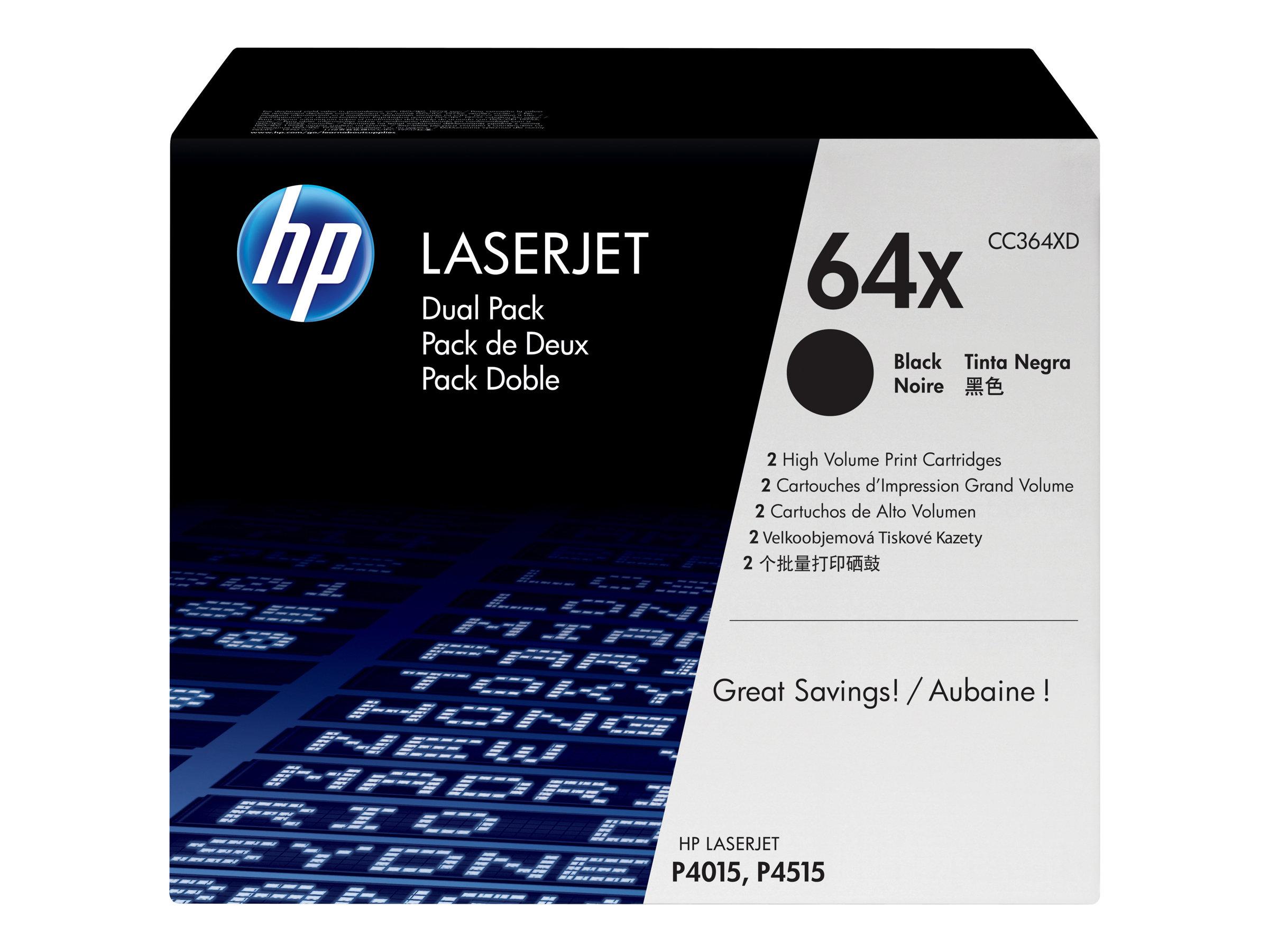 HP 64X - pack de 2 - à rendement élevé - noir - originale - LaserJet - cartouche de toner (CC364XD)