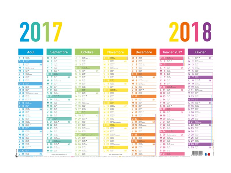 Oberthur Arc En Ciel - Calendrier - 2017-2018 - visualisation de 7 mois - 570 x 410 mm
