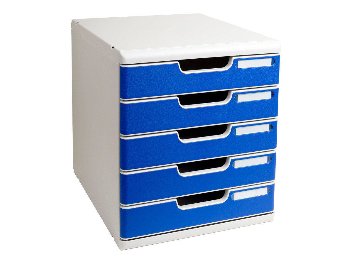 Exacompta MODULO Classic - Bloc de classement à tiroirs - 5 tiroirs - A4 Plus - bleu