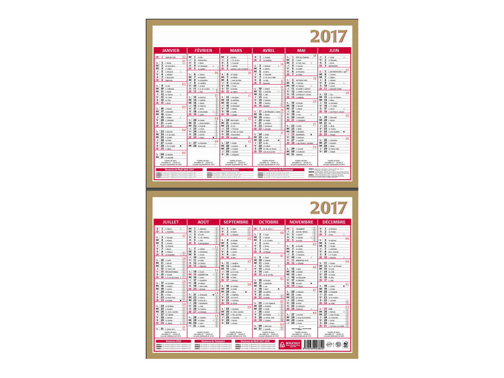 CBG Or Lunor - Calendrier - 2017 - 6 mois par face - 210 x 265 mm