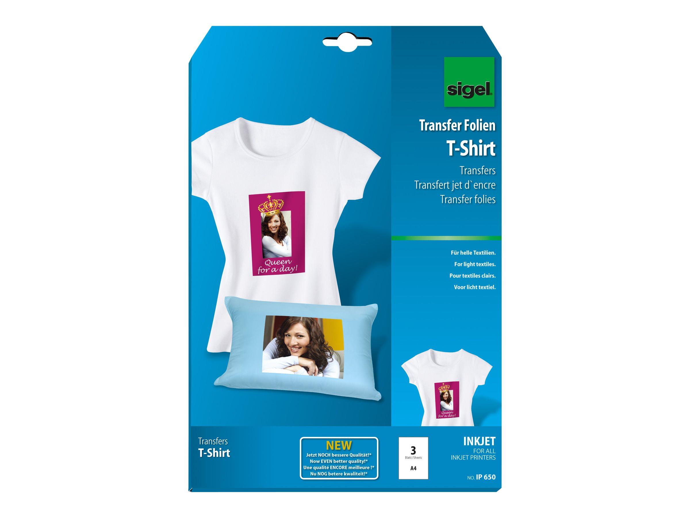 Sigel Creative Photo Fun IP650 - papier transferts sur T-shirt - 3 unités