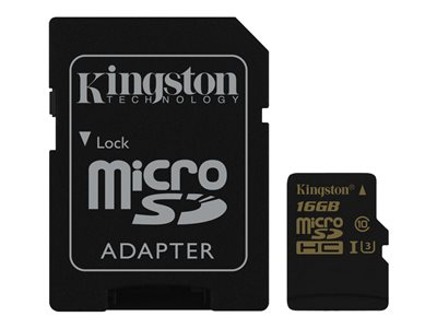 Kingston Gold - Paměťová karta flash (adaptér microSDHC - SD zahrnuto) - 16 GB - UHS-I U3 / Class10 - microSDHC UHS-I