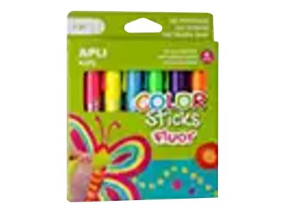 APLI kids COLOR Sticks - 6 tubes de gouache - tempéra - assortiment de couleurs fluorescentes