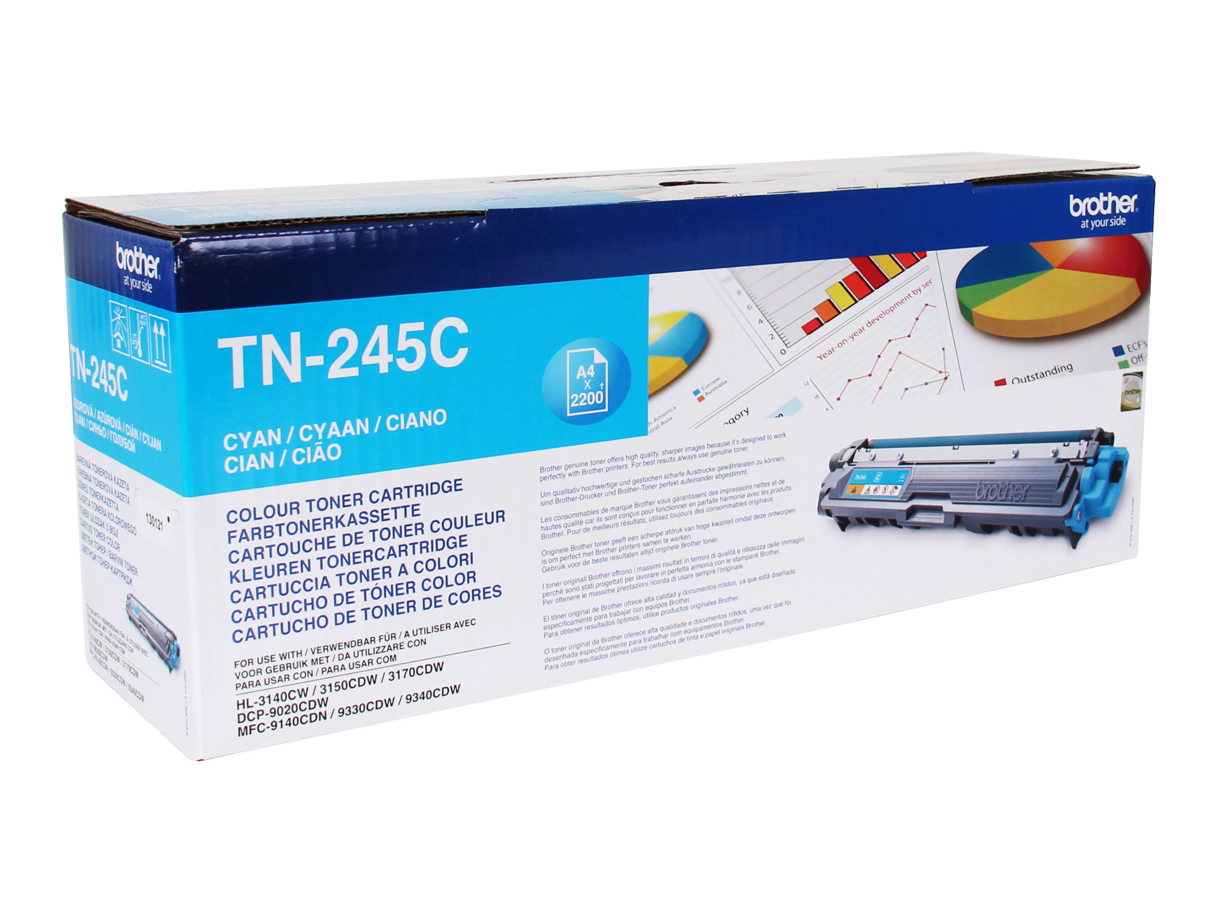 Brother TN245C - à rendement élevé - cyan - originale - cartouche de toner