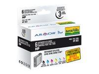 Armor - pack de 6 - noir, jaune, cyan, magenta, photo cyan, photo magenta - cartouche d'encre (équivalent à : HP 363 )