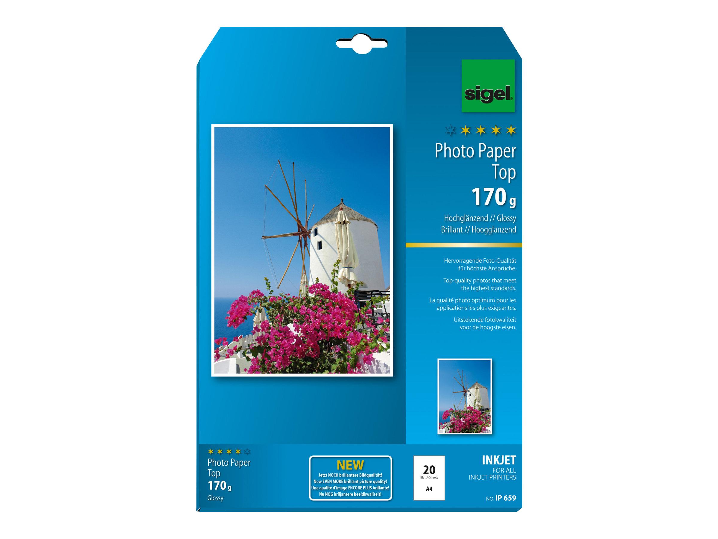 Sigel InkJet Top Photo Paper IP659 - papier photo - 20 rouleau(x)