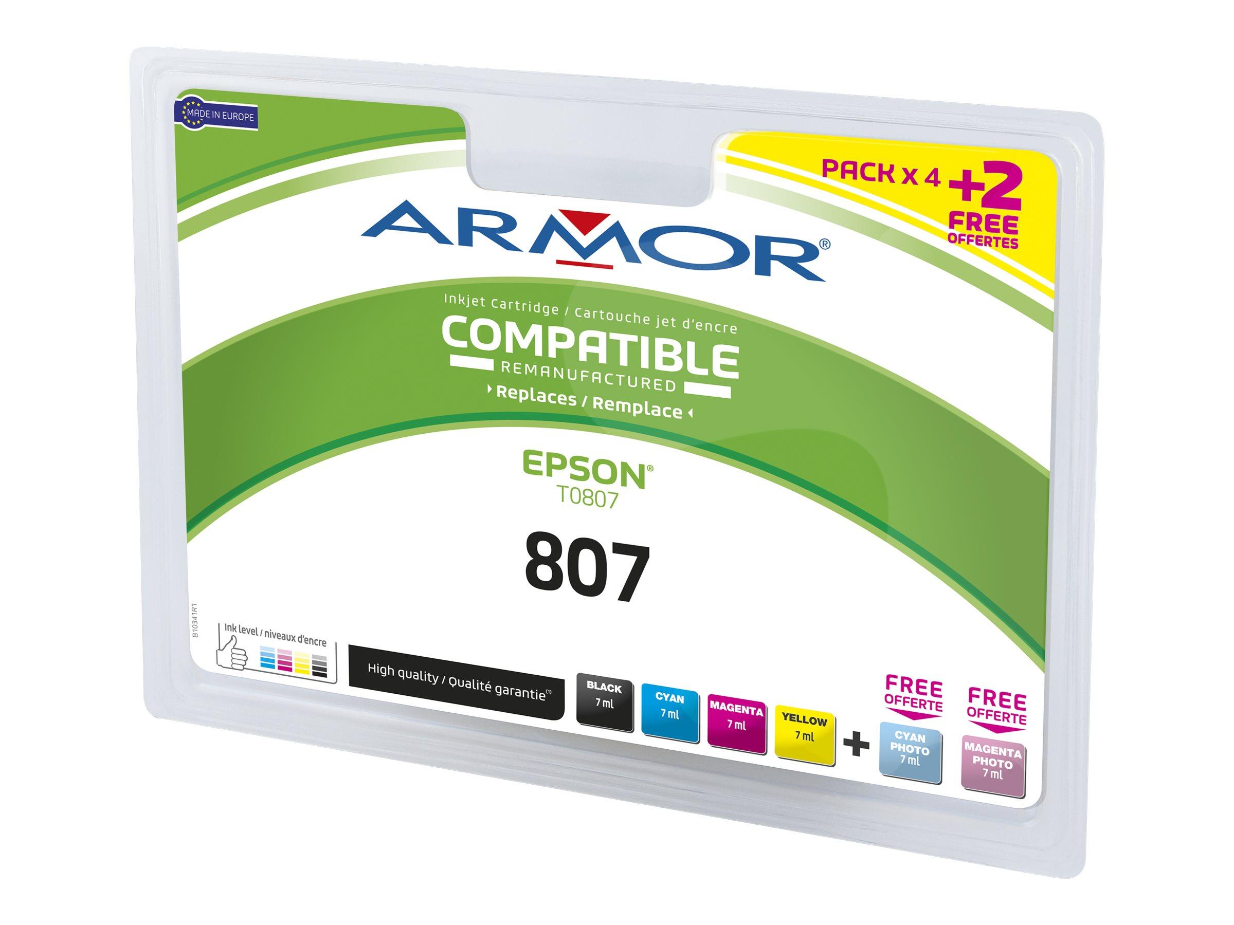 Armor B10341R1 - colibri - pack de 6 - noir, jaune, cyan, magenta, photo cyan, photo magenta - remanufacturé - cartouche d'encre (équivalent à : Epson T0807)