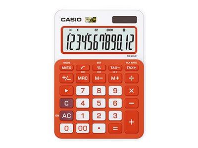 Casio MS- 20NC - Calculatrice de bureau - 12 chiffres - différentes couleurs disponibles