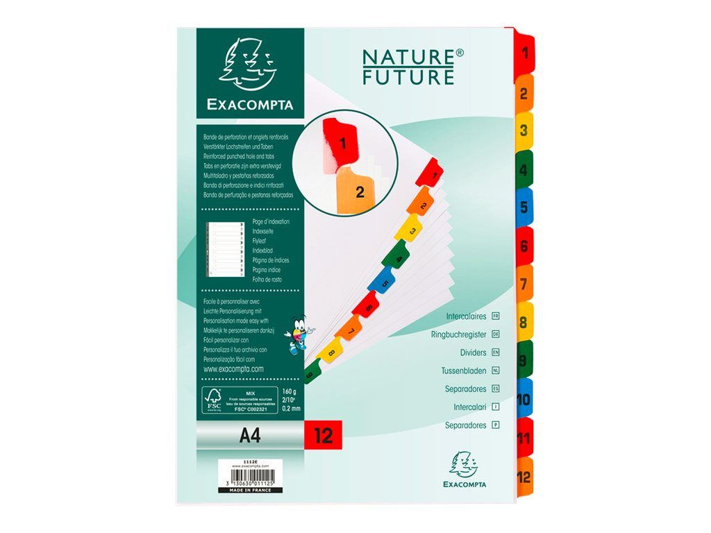 Exacompta Nature Future - Intercalaire - 12 positions - 1- 12 - A4 - blanc