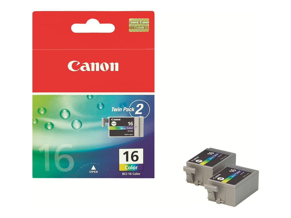 Canon BCI-16 - Pack de 2 - couleurs (cyan, magenta, jaune) - original - cartouche d'encre