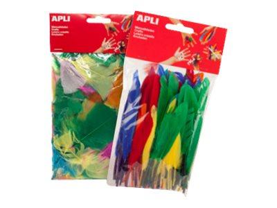Apli - 100 Plumes - jaune, rouge, vert, orange, bleu foncé, turquoise